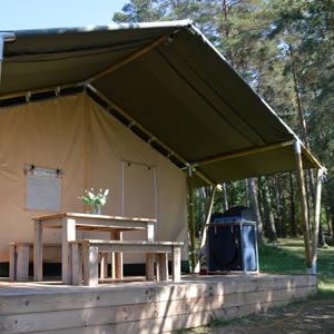 safaritent huren op kleinschalige camping in de Dordogne